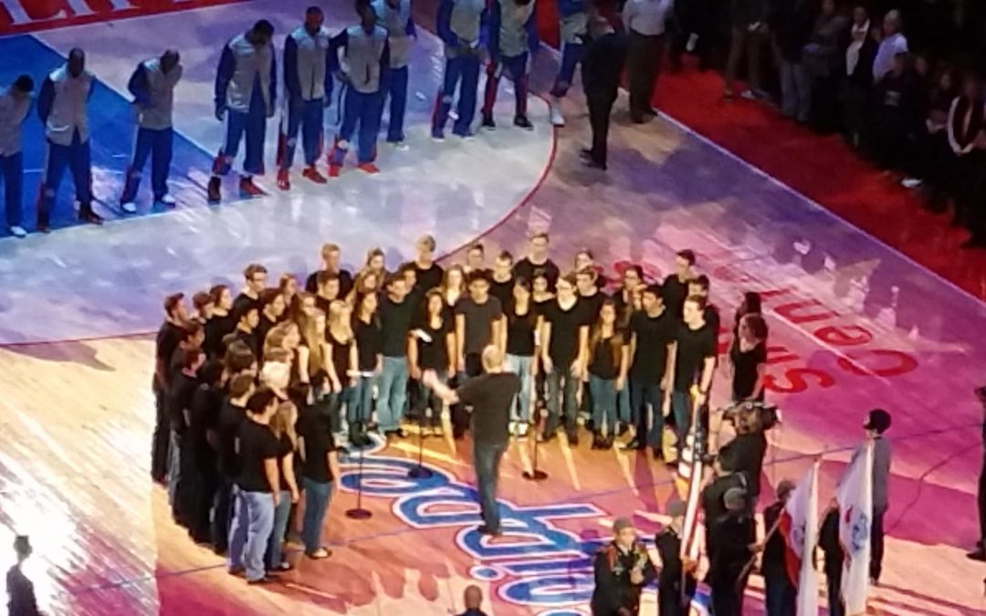 Madrigals Perform at the Clippers Game